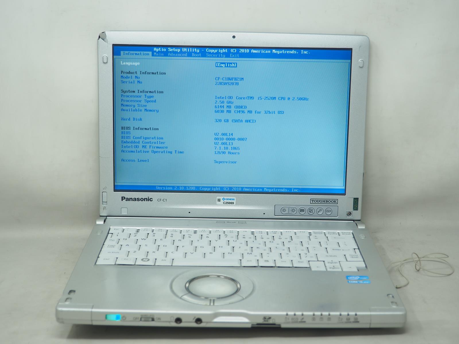 "PANASONIC TOUGHBOOK CF-C1 12.1"" Laptop Intel i5-2520M 2.50GHz 6GB 320GB No OS"